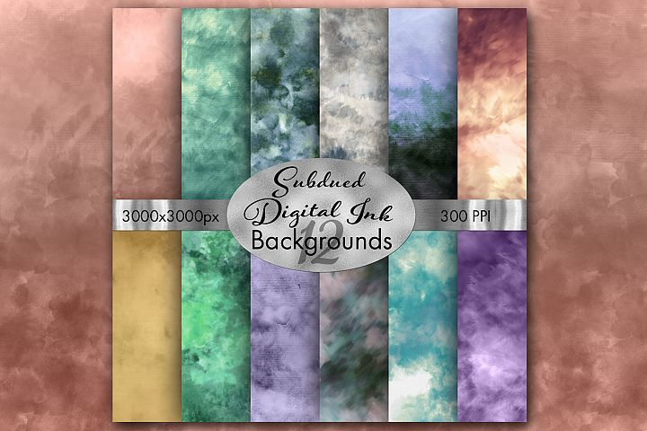 Subdued Digital Ink Backgrounds - 12 Image Set