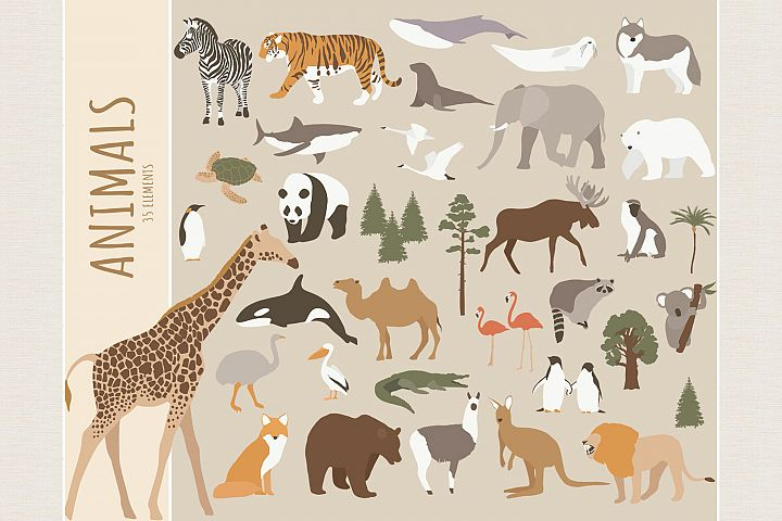 World animals clipart. SVG, PNG
