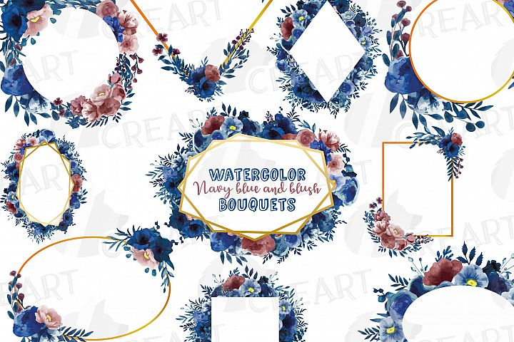Watercolor elegant navy blue and blush floral borders vector