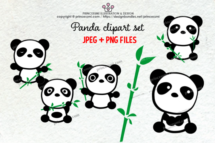 Cute panda clipart set