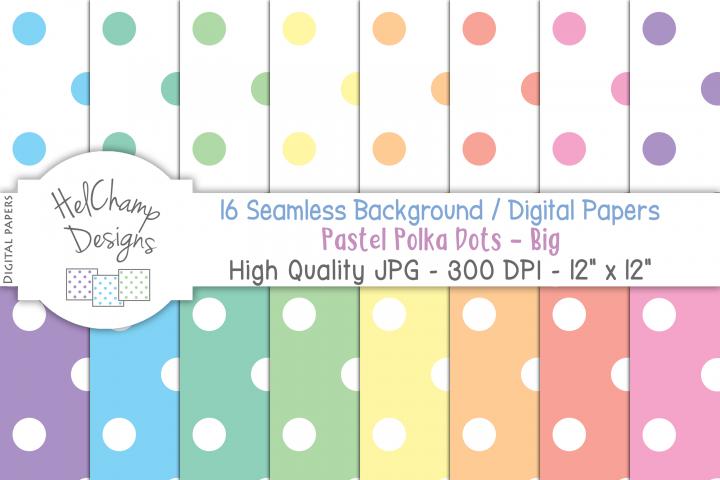 16 seamless Digital Papers Pastel Polka Dots Big - HC011