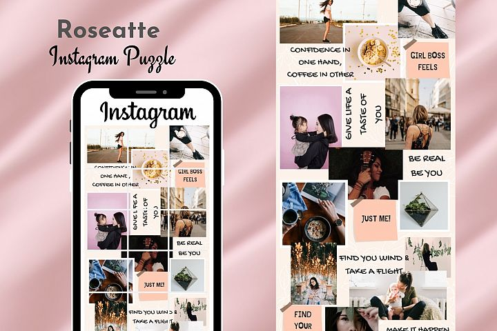 Instagram Puzzle Template Canva- Roseatte