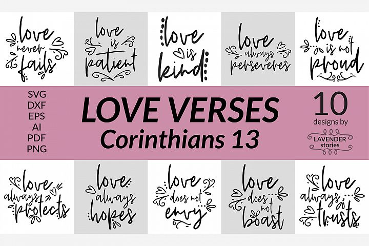 Love verses bundle - Christian SVG bundle - 10 designs