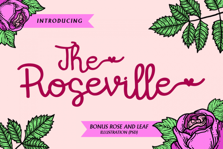 The Roseville - Script Font and Illustrations