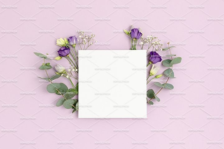 Paper card mockup with frame made of eustoma flowers