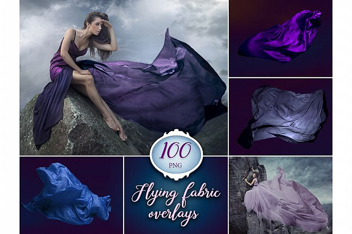 100 Flying Fabric Photo Overlays
