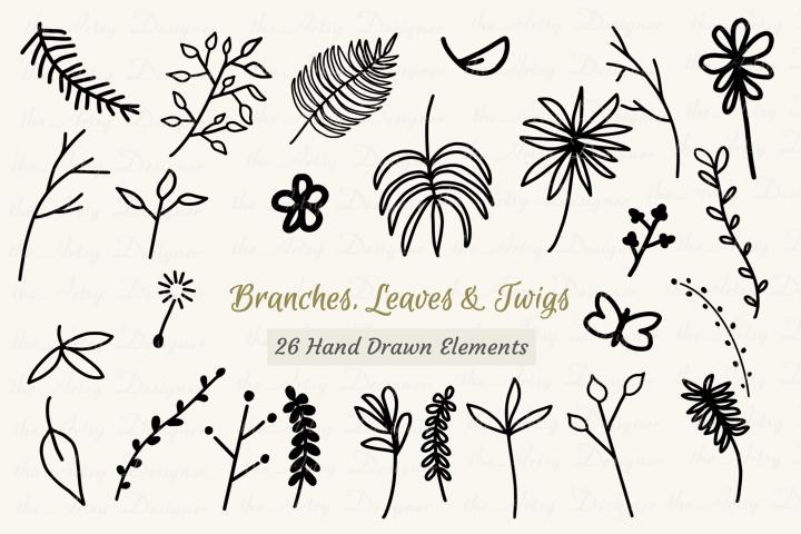 26 Digital Stamps Leaves Branches Twigs Clipart Digi Bundle