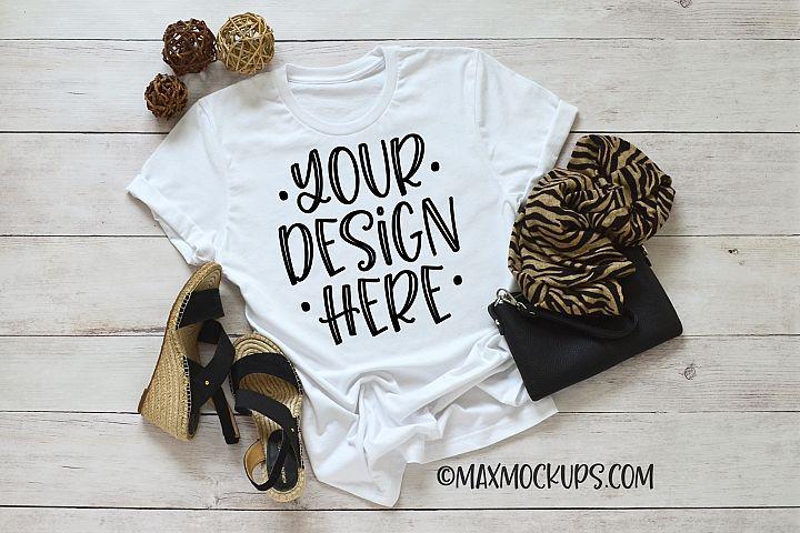 White t-shirt mockup Bella Canvas 3001, purse, shoes, scarf