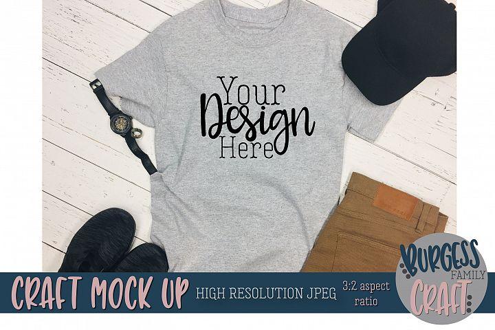 Mens grey t-shirt jeans Craft mock up |High Resolution JPEG