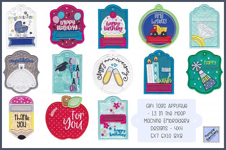 Gift Tags - 13 In-The-Hoop Machine Embroidery Designs