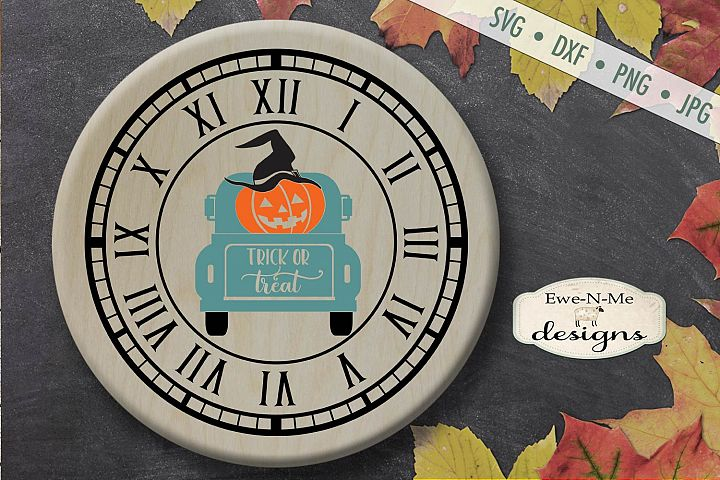 Clock SVG - Halloween Clock - Jack O Lantern Truck - SVG DXF