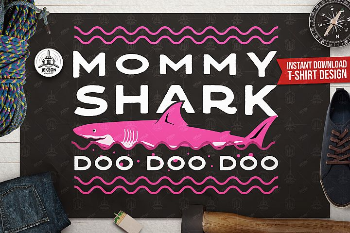 Retro Mommy Shark Print / Mothers Day T-Shirt, Family SVG