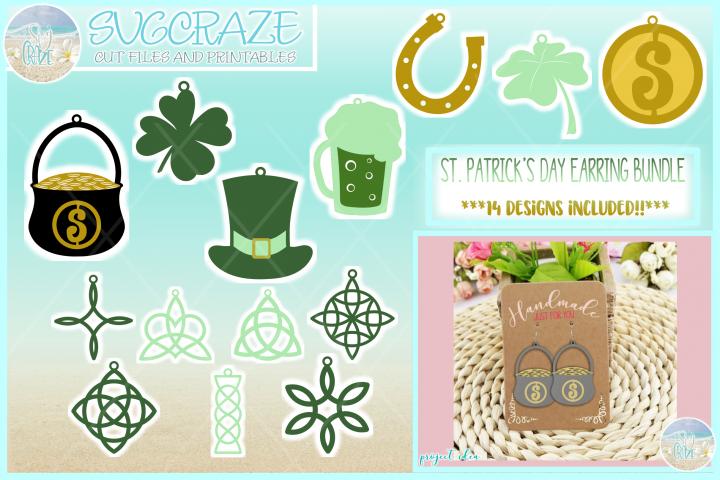 St Patricks Day Earring Template Bundle Faux Leather Pendant