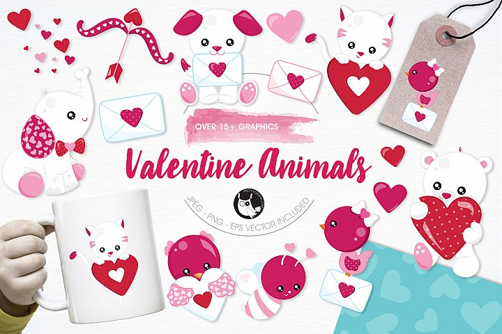 Valentine Animals graphics and illustrations - Free Design of The Week