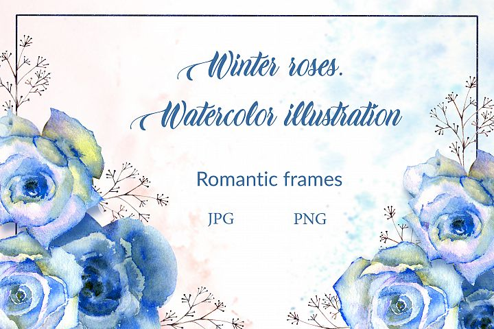 Blue roses. Watercolor illustrations