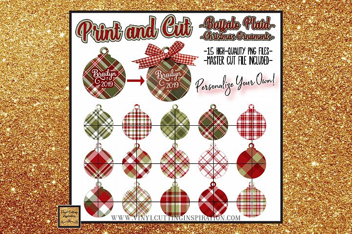 15 Buffalo Plaid Christmas Ornaments Print and Cut Svg Bundl