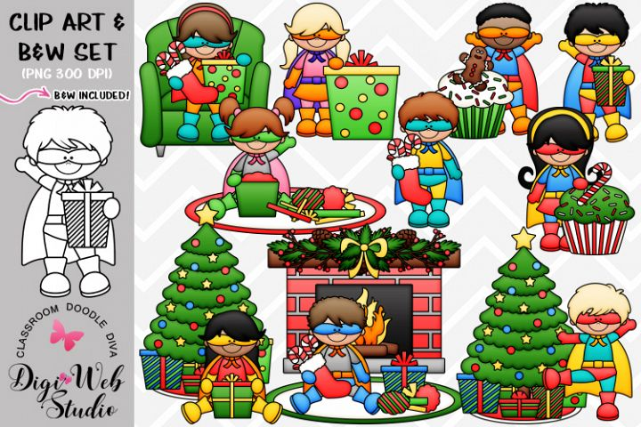 Clip Art / Illustrations - Superhero Christmas Kids