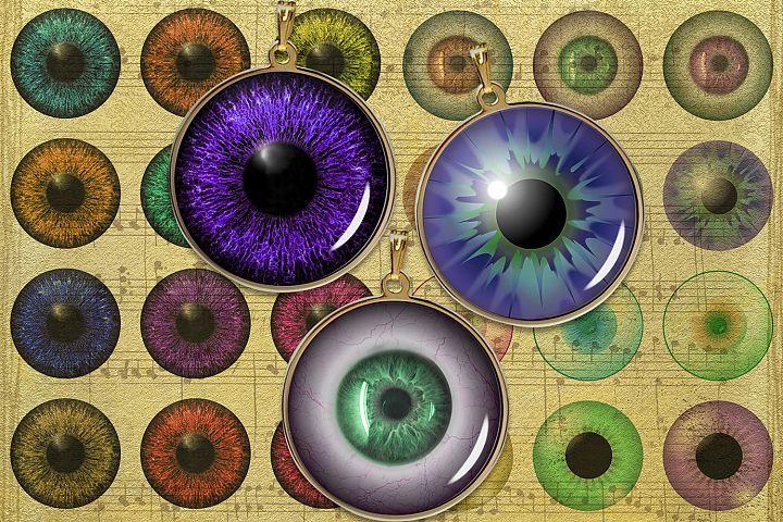 Colourful Eyes Digital Collage Sheet,Eyes Printable,Pendants