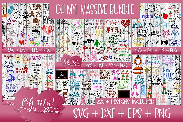 OH MY! MASSIVE BUNDLE SALE 220 DESIGNS SVG DXF EPS PNG
