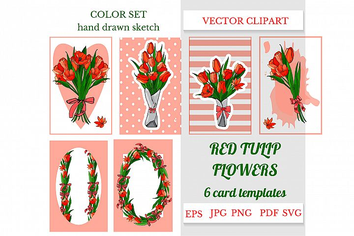 Hand drawn sketch of red tulip flowers. Vector object.