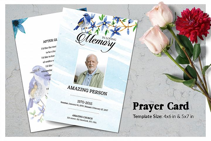Blue flower Funeral Prayer Card Template