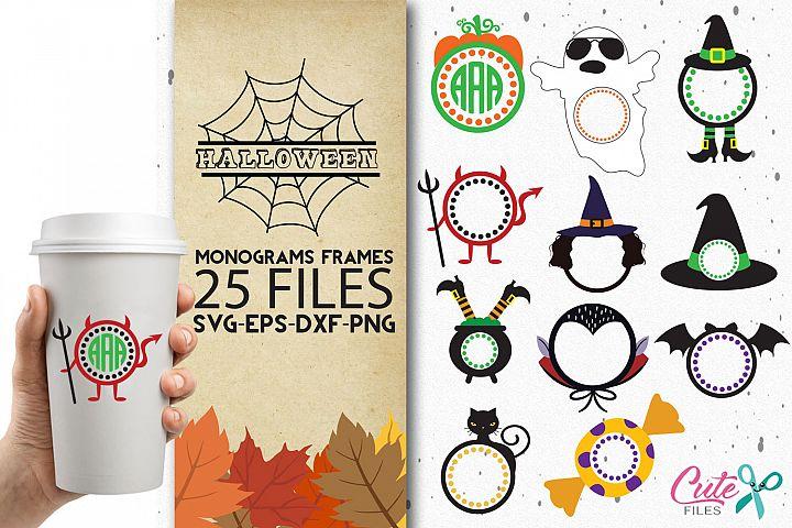 Halloween monograms bundle, svg cutting files