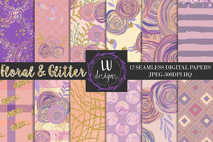 Floral Glitter Digital Paper Pack, Purple Floral Wedding Backgrounds