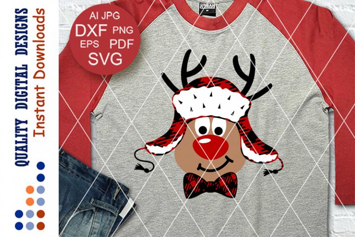 Rudolph the red nosed reindeer svg Buffalo plaid Hat Bow