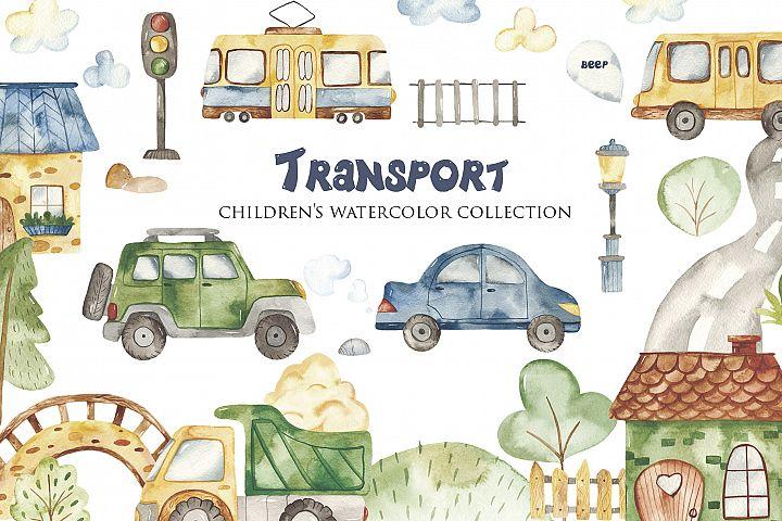 Transport. Childrens watercolor