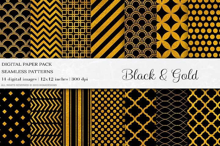 Black Gold Digital Papers, Gold Geometric Seamless Patterns