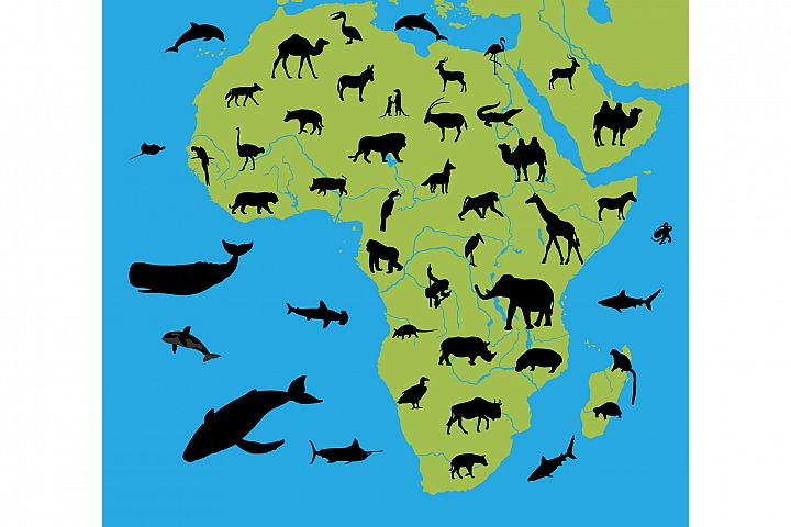Animals on the map of Africa