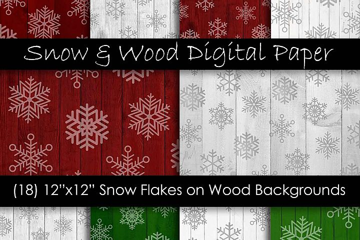 Red & Green Christmas Snowflake Digital Paper Pack