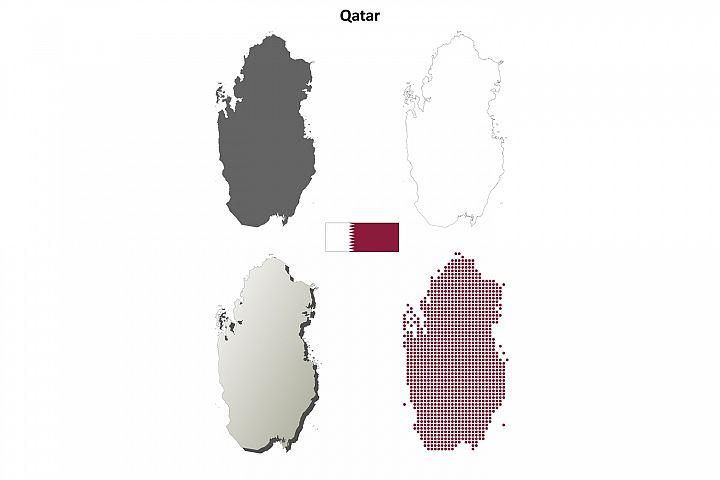 Qatar outline map set