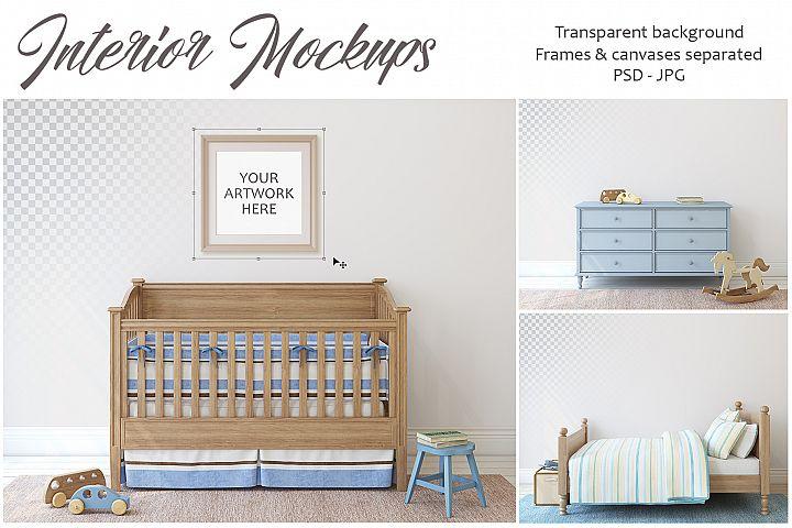 Boys nursery. Wall&Frames Mockup.
