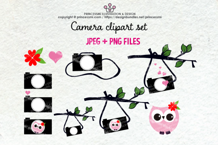 Cute camera clipart set 6 with owl, love heart
