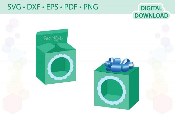 Rectangular Box with circle window cut file