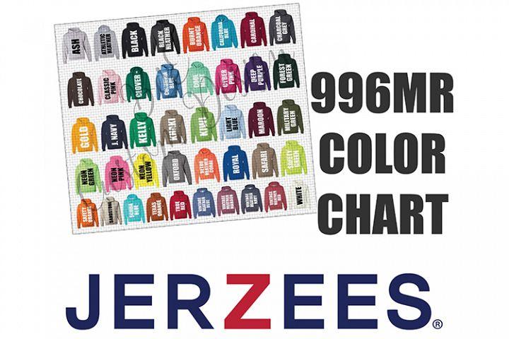 Jerzees 996MR Hoodie Sweatshirt Color Chart