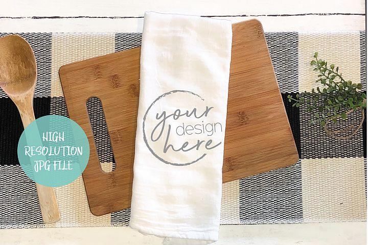 Tea Towel Flour Sack Mockup | Buffalo Plaid Background