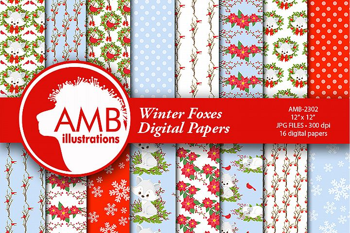 Winter Fox Digital Patterns, Winter Fox Papers, AMB-2302