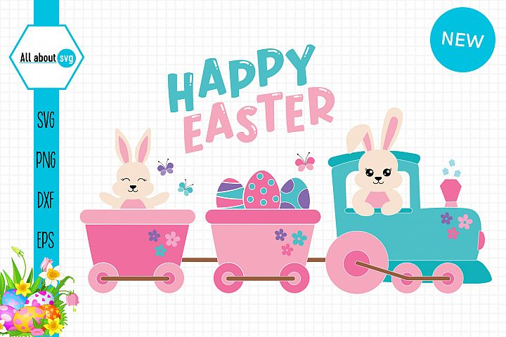 Happy Easter Train Svg, Easter Bunny In Train Svg