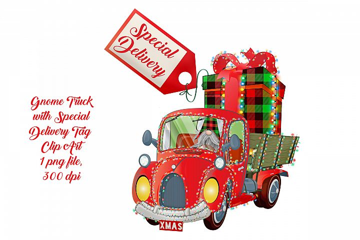 Christmas Truck with Scandia Gnome & Special Delivery Tag