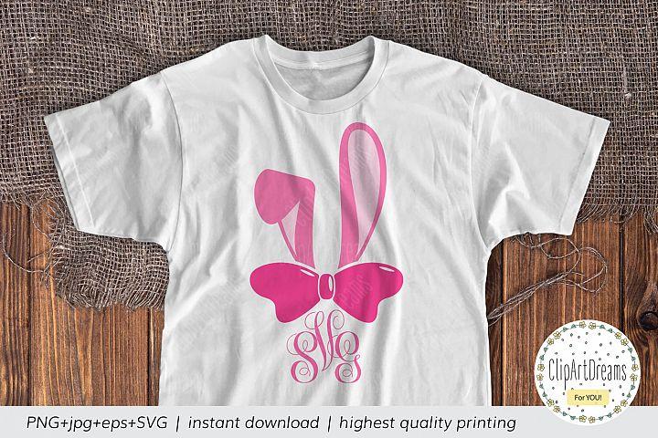 Bunny Monogram SVG, Easter Monogram SVG Easter Bunny girl
