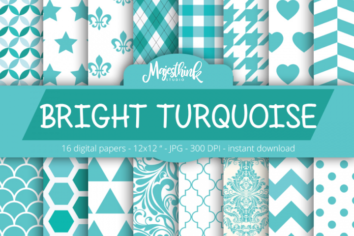 Bright Turquoise Digital Paper - with polkadot, stripe, chevron, quatrefoil, floral, damask, hexagon, triangle red pattern for Scrapbooking