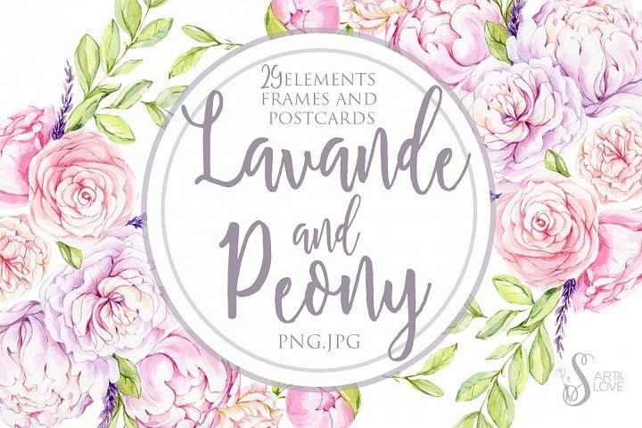Watercolor Lavande and Peony Flowers