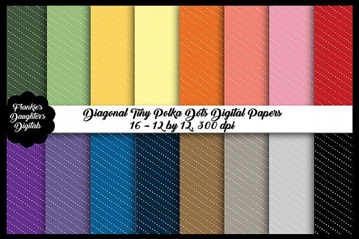 Diagonal Tiny Polka Dots Digital Papers