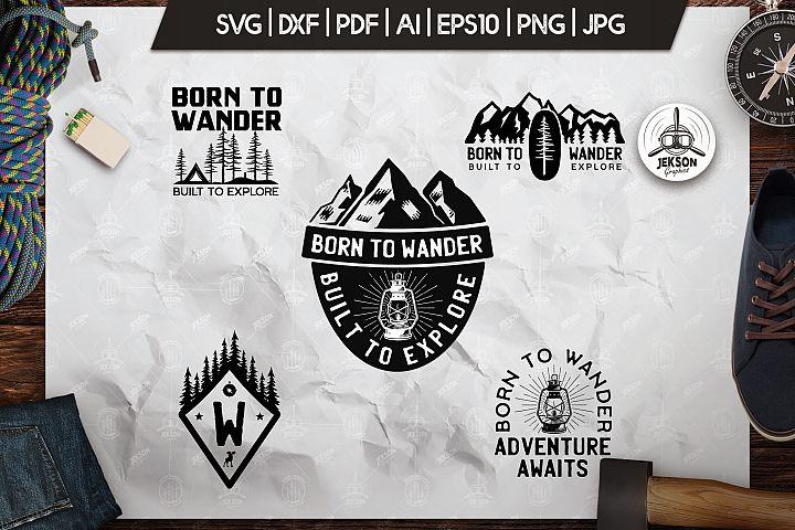 Wanderlust Logos, Retro Vector Camping Badges, Shirt SVG Cut