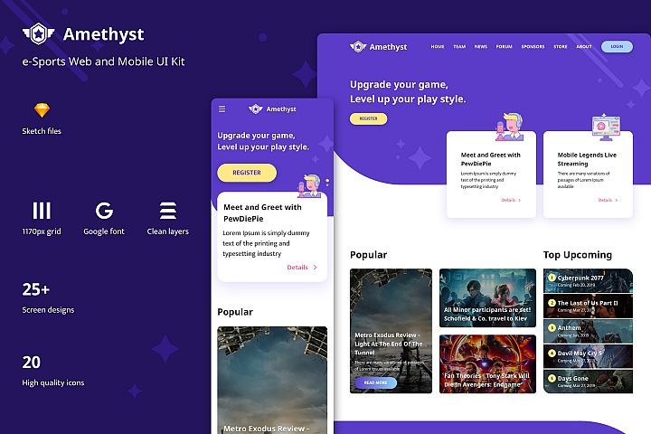 Amethyst - Esports Template for Sketch