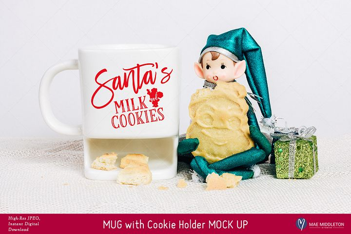 Christmas Mock Up - White Mug with Cookie Holder