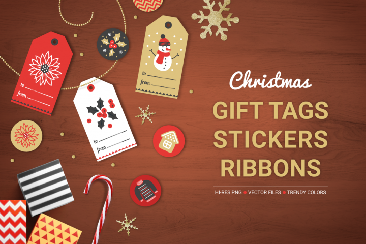Christmas Ribbons, Stickers, Tags