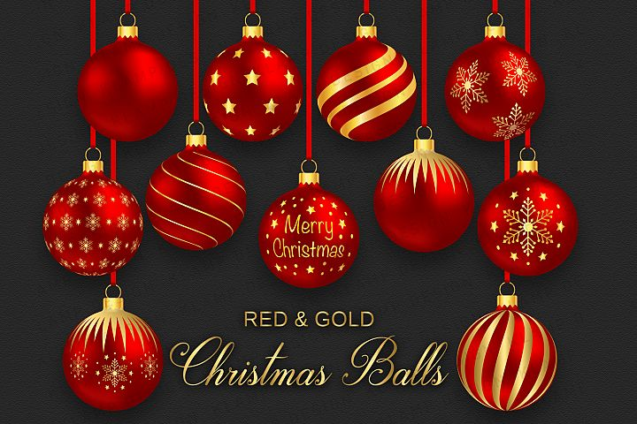 Red and Gold Christmas Balls Clipart, Christmas Graphics